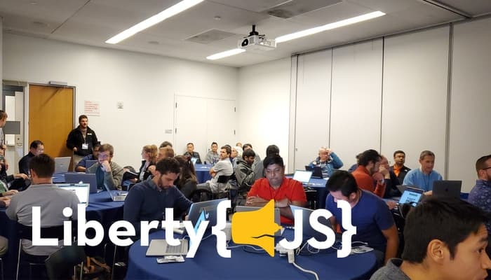 George Mandis leading the 'JavaScript & WebMIDI Workshop' at LibertyJS 2019